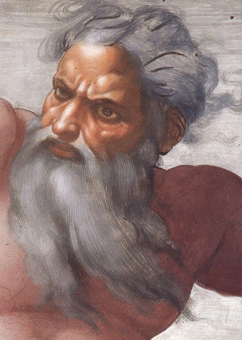 Dumnezeu. Portret de Michelangelo.